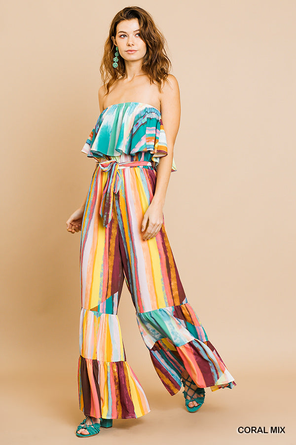 Watercolor Ruffle Tube Top Jumpsuit