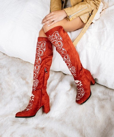 Suede Embroidered Boot