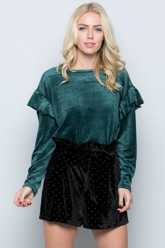 Velvet Top with Puffed Sleeves