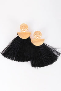 Fringe Textured Stud Dangle Drop Earrings