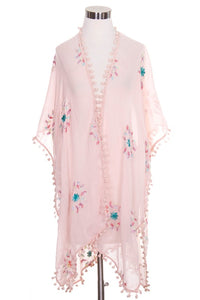 Embroidered Floral Wrap