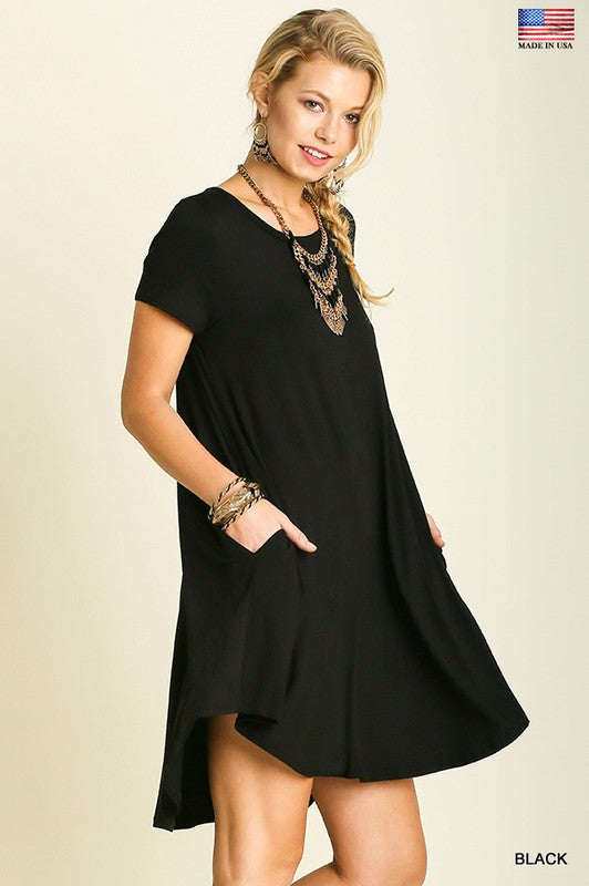 Basic Short Sleeve Pocket Tee Dress