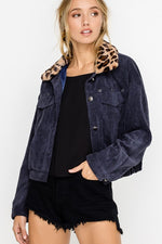 Leopard Fur Collar Corduroy Jacket