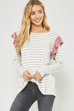 Ruffle Trim Shoulder Top