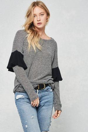 Brushed Knit Top With Ruffle Drop Sleeve