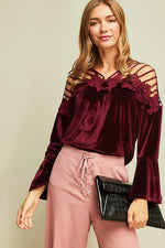 Solid Velvet Top With Strappy Shoulder Detail