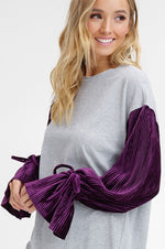 Knitted Top With Velvet Plum Sleeve