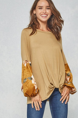 Floral Sleeve Knotted Top