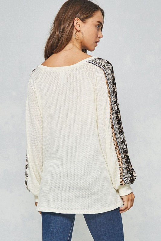 Floral Trimmed Thermal Top