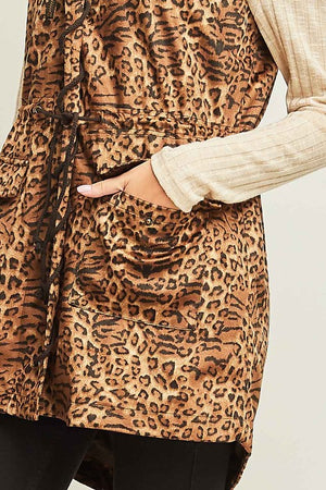 Cheetah Vest With Drawstring Detail