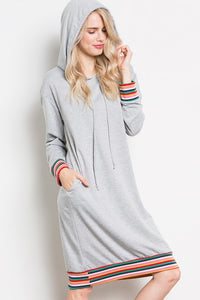 Long Sleeve Hoodie Midi Dress