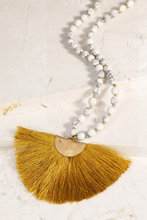 Natural Stone Bead And Fine Fan Tassel Necklace.