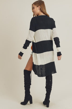 Ribbed Long Sleeve Striped Cardigan