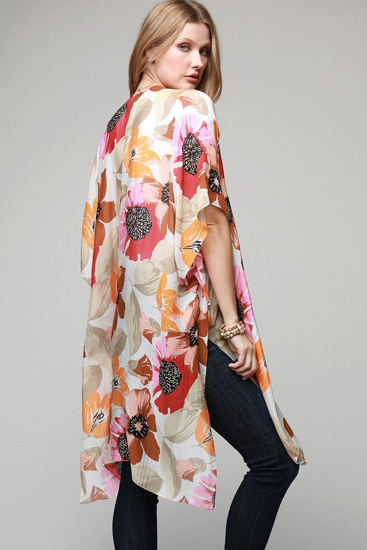 Poppy Tulip And Lily Floral Kimono