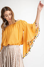 Cotton Off Shoulder Top With Tassel Sleeve