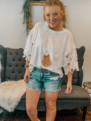 Floral Applique Bell Sleeve Top