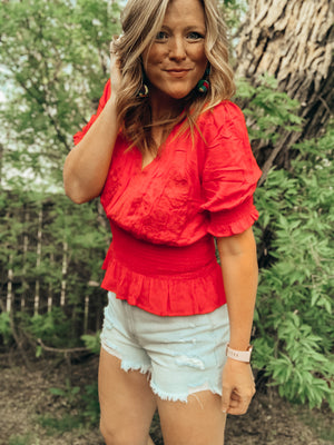 Smocked Lace Trim Top