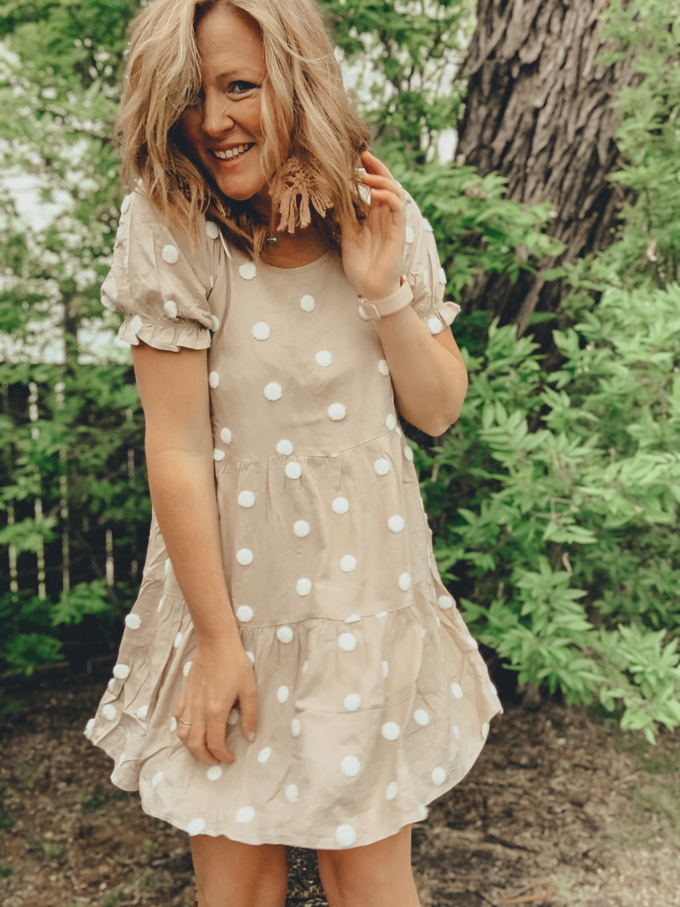 Textured Dot Print Dress
