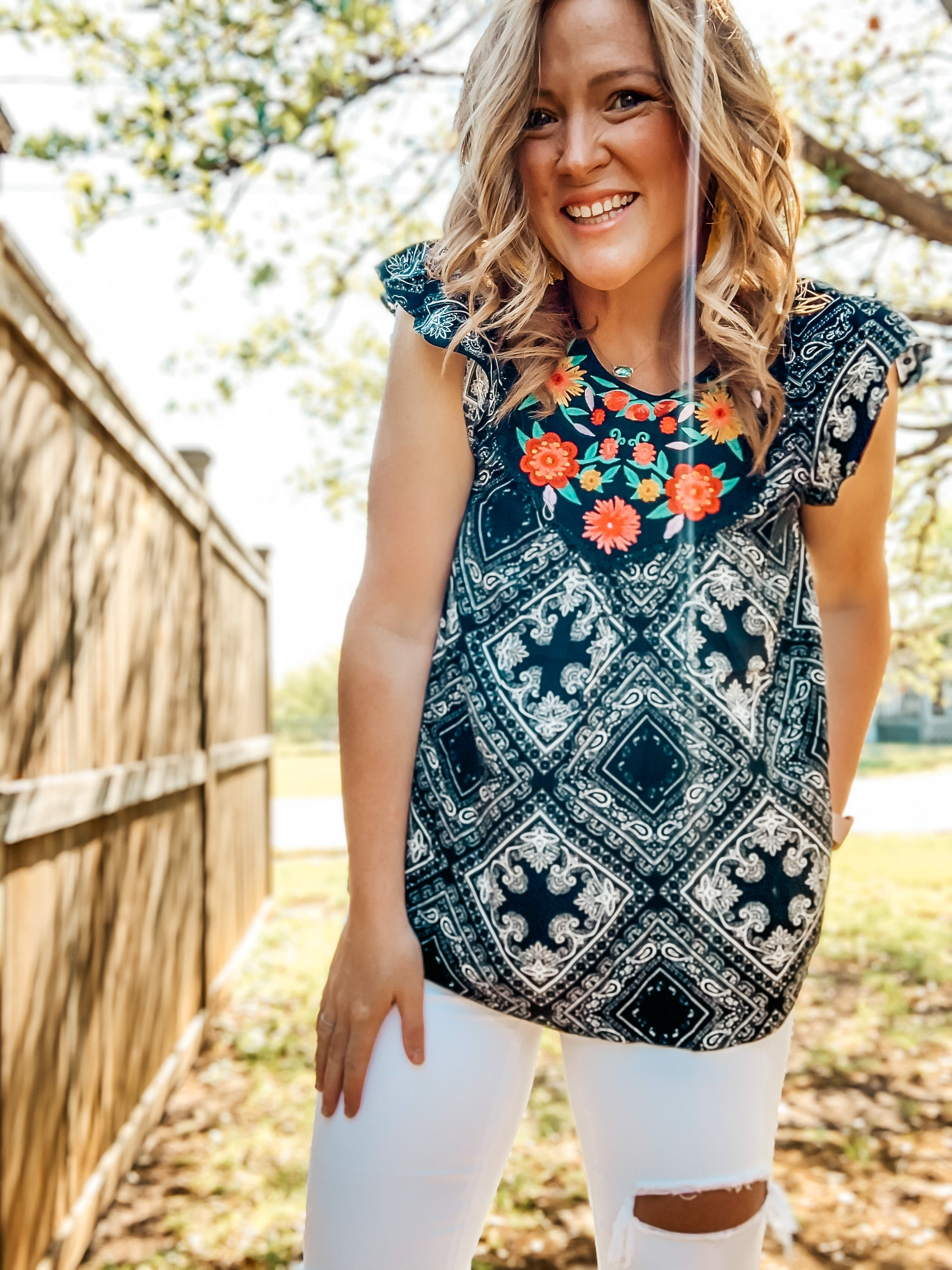 Patchwork Print Embroidery Top