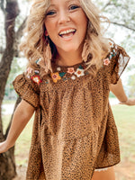 Ditsy Embroidered Leopard Blouse