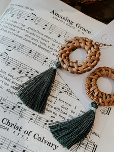 Rattan Circle Tassel Earrings
