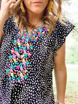 THML Cheetah Embroidered Blouse