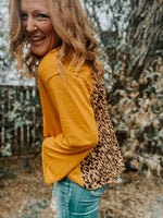 Leopard Back Long Sleeve V Neck
