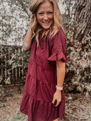 Split Neck Ruffle Sleeve Tiered Dress