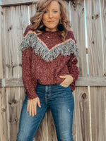 Fringe Chevron Sweater