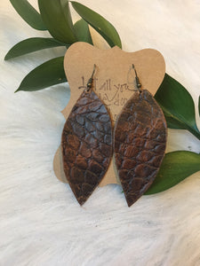 Brown Alligator Leather Earring