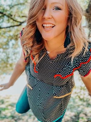 Polka Dot Colorblock Top