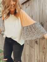 Waffle Top With Print Sleeves