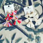 3 Tier Raffia Fan Earrings