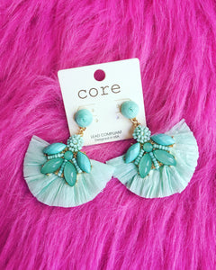 Raffia Fan and Beads Earrings