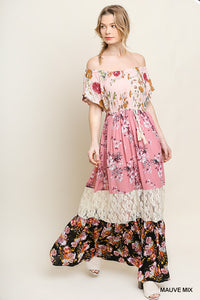 Floral Mixed Print Off Shoulder Ruffle Maxi