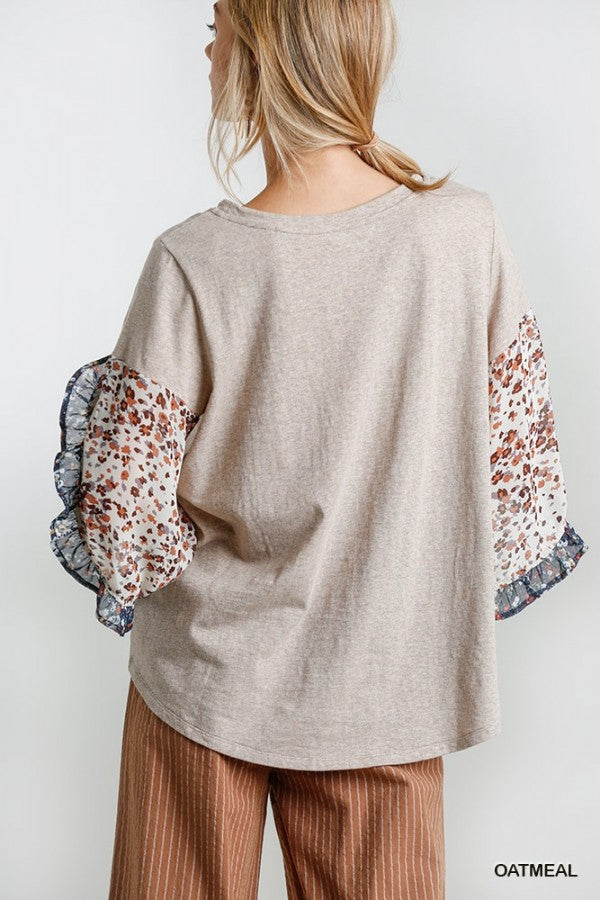 Animal And Floral Split Bell Sleeve
