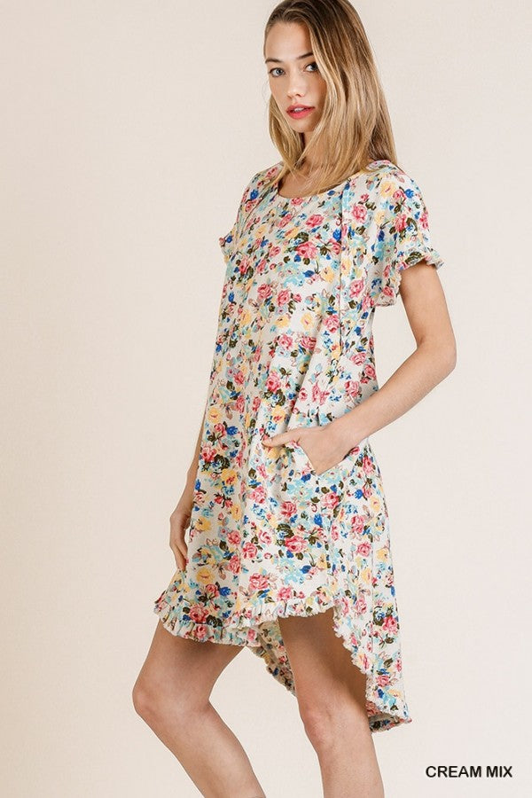 Floral Print Short Ruffle Sleeve Dress