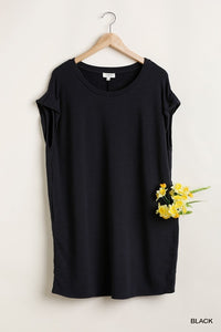 Round Neck Short Sleeve Dress With Pockets