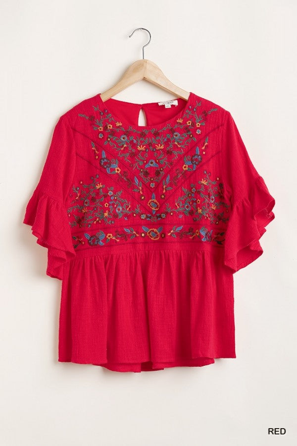 3/4 Ruffled Sleeve Floral Embroidered Yoke Top
