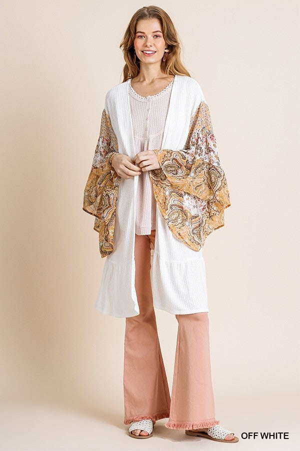 Sheer Paisley and Floral Mix Bell Sleeve Cardigan