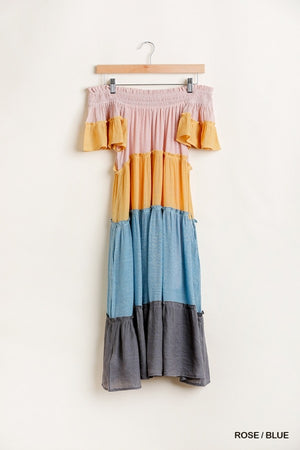 Colorblocked Off Shoulder Maxi