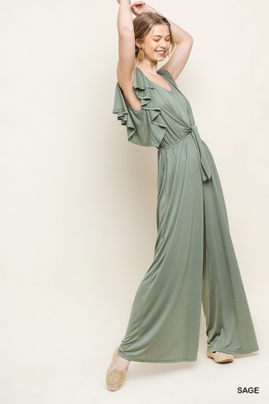 Wide Leg V-Neck Jumpsuit