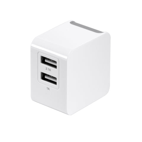 SE-T02 - UL Listed Dual USB Port Folding Prong 1A and 2.1A Rapid Charger