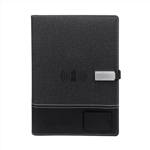 SE-PF12-GY - Padfolio w/ 8000mAh Power Bank and Wireless Charger and LED Logo