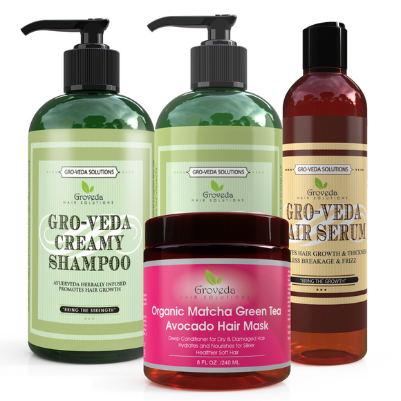 Groveda Hair Growth Bundle with Matcha Green Tea Avocado Hair Mask