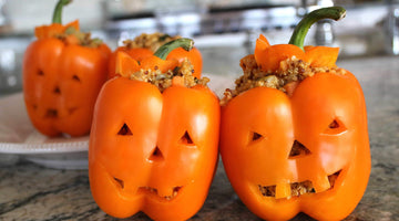 Stuffed Jack-O-Lantern Peppers with Super Quinoa