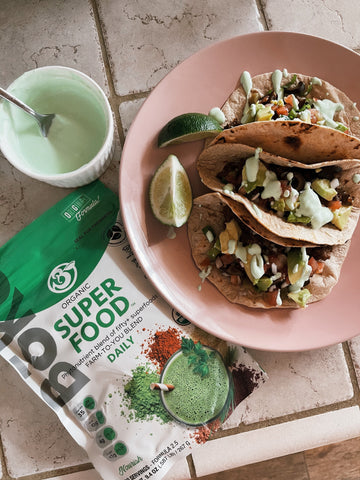 Super Shroom Tacos with Superfood Lime Crema