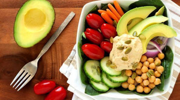 Healthy Lunch Bowl With Avocado & Homemade Hummus