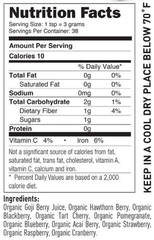 Super Berry Unsweetened Nutrition Facts