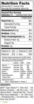 Super Fuel Nutrition Facts